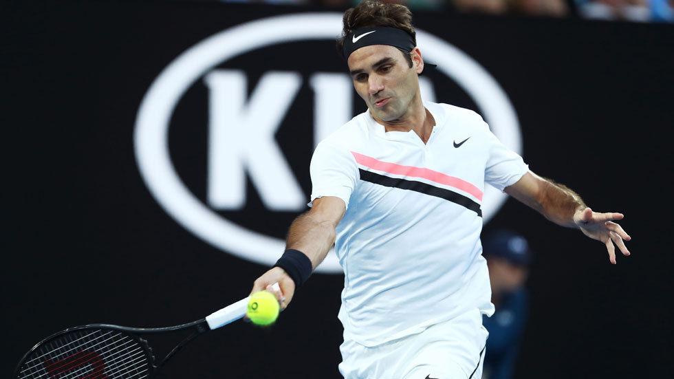 Roger Federer in action at the Australian Open.