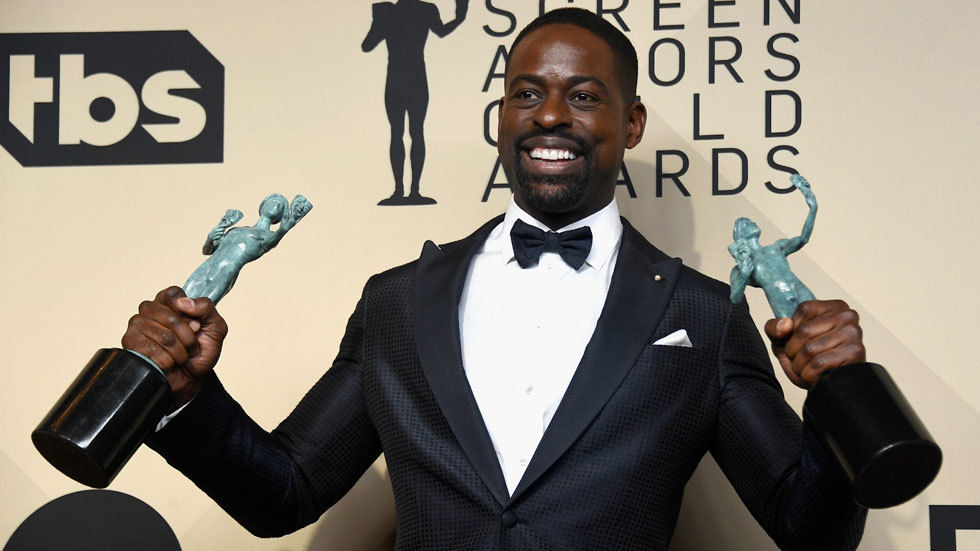 This Is Us star Sterling K Brown with SAG Awards. Watch Season 2 on DStv.