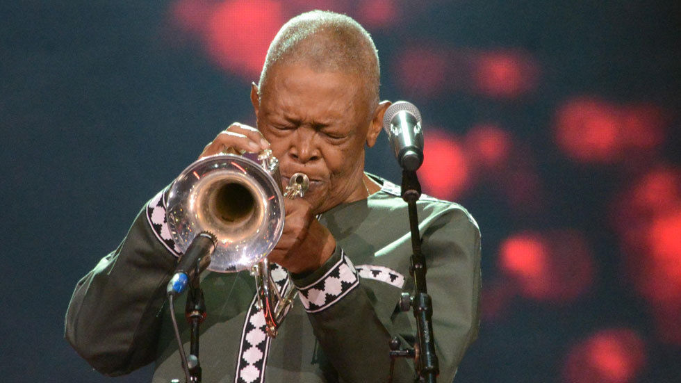 Hugh Masekela performs live.