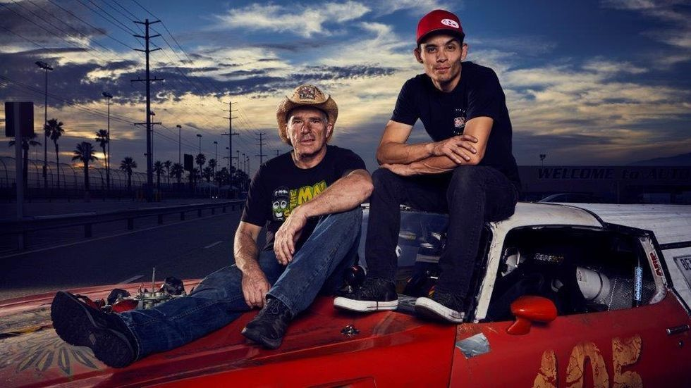 Street Outlaws v Fast N' Loud, two men sit on a car