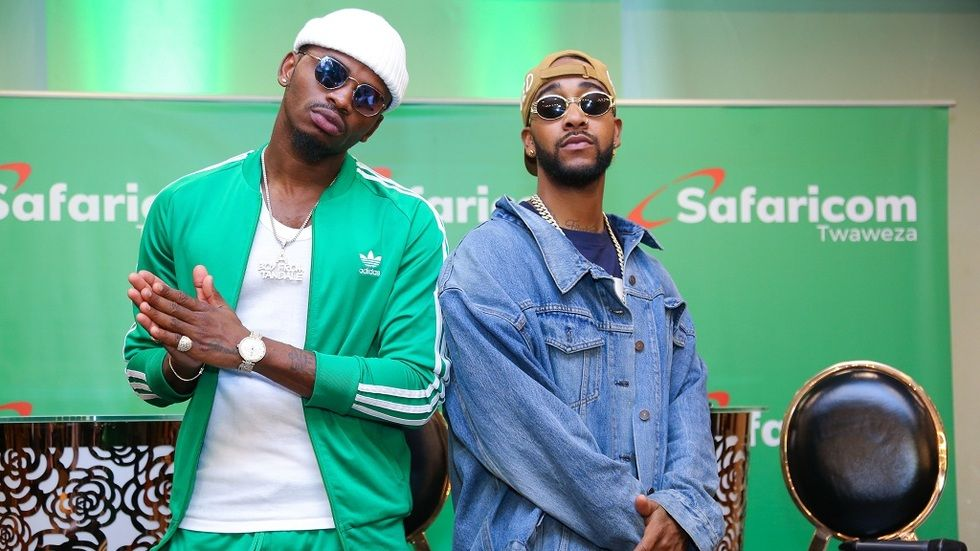 Diamond and Omarion during a press conference for his album launch A Boy from Tandale