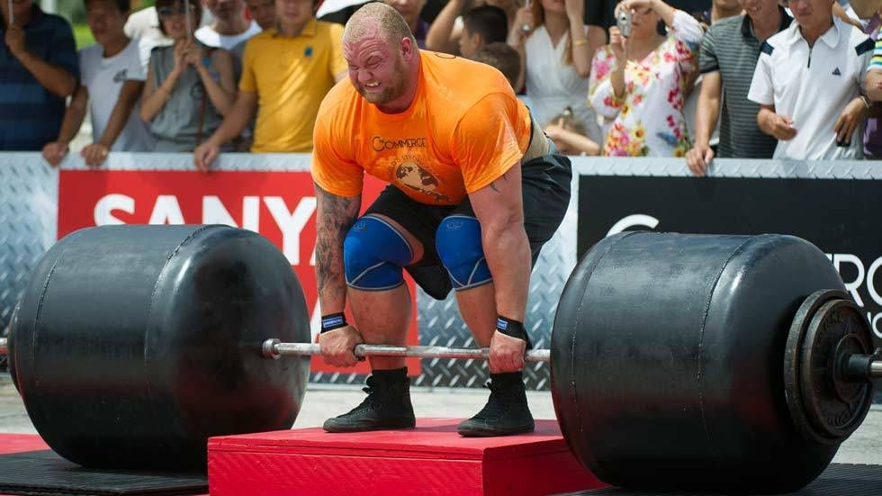 Hafthor Julius Bjornsson in action at the World's Strongest Man competition.