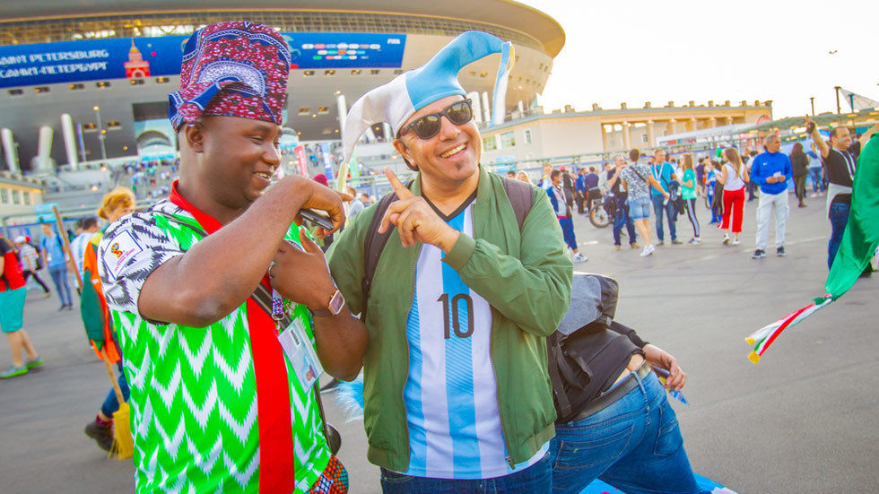 Fans from Nigeria and Argentina outside the stadium.