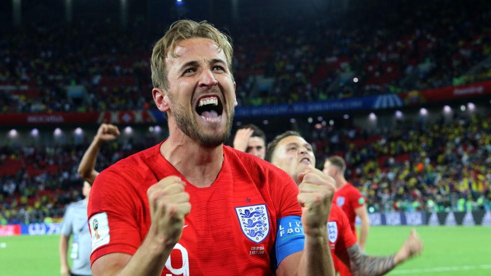 Harry Kane celebrates.