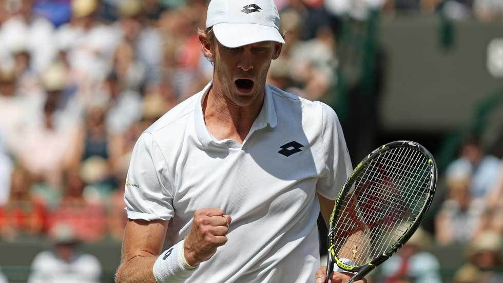 Kevin Anderson celebrating the win
