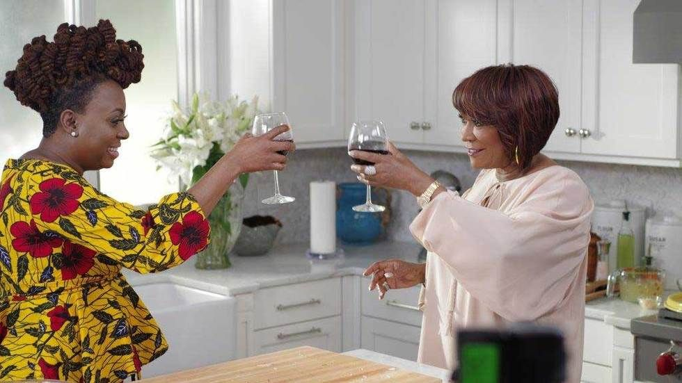 Patti LaBelle in the kitchen with a guest