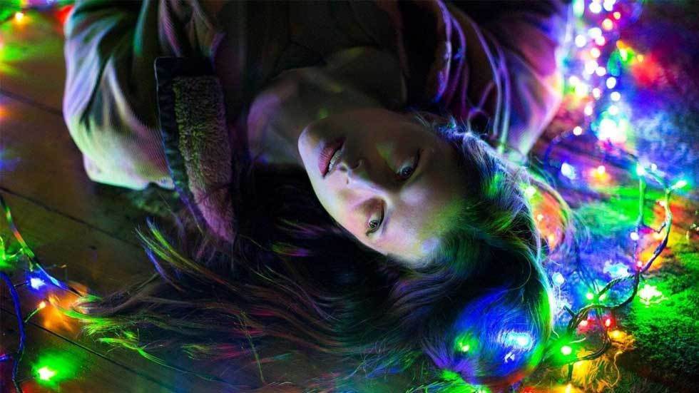 female in psychadelic background