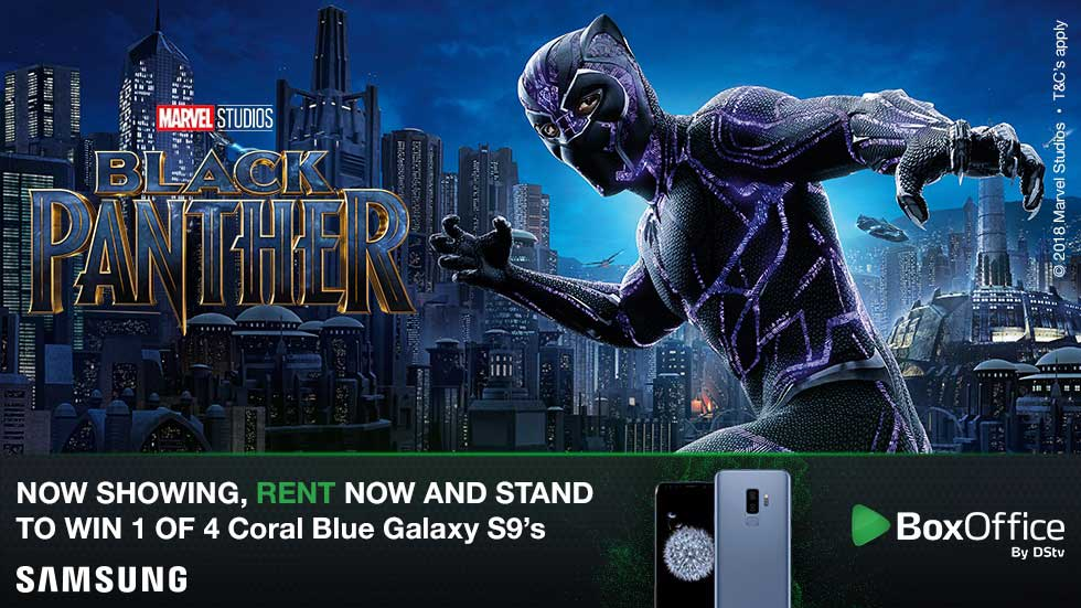 Rent Marvel Studios The Black Panther and stand a chance to win 1 of 4 Samsung S9 phones weekly